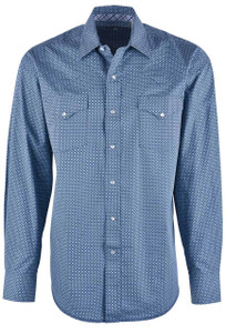 Stetson Blue Classic Neat Print Snap Shirt - Front