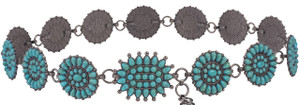 Lucky And Blessed Turquoise Concho Chain Belt
