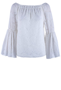 Julian Chang Lace Off The Shoulder Top - Front