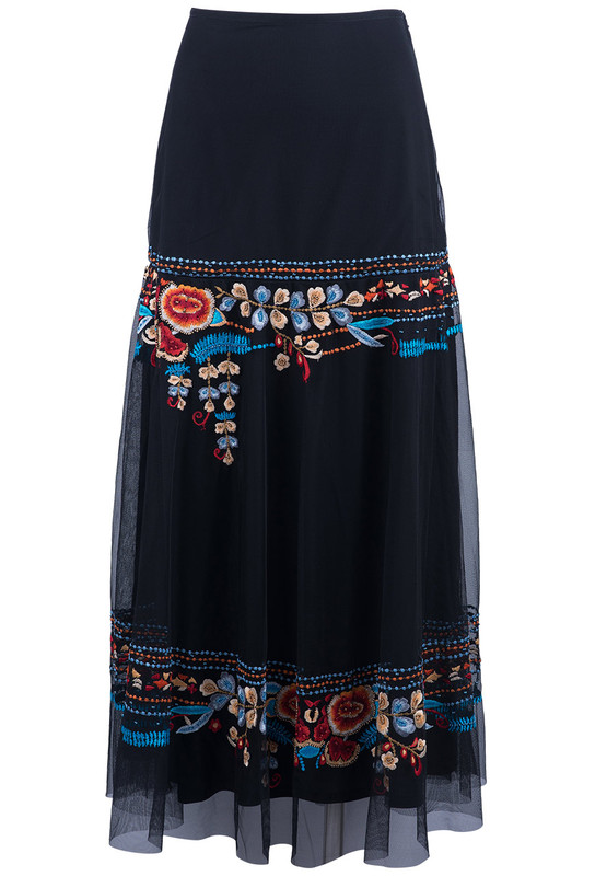 VINTAGE COLLECTION ST. TROPEZ FLORAL EMBROIDERED CHIFFON SKIRT