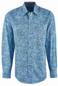 Stetson Blue Western Paisley Snap Shirt - Front