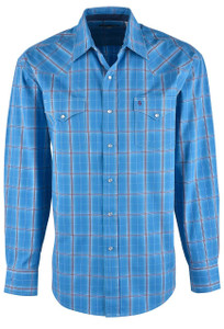 Stetson Blue Ranch Ombre Plaid Snap Shirt - Front