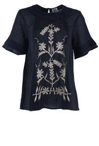 Ivy Jane Natural Floral Embroidered Top - Front