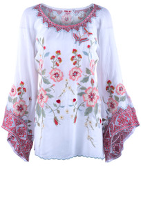 Johnny Was Grace Embroidered Top - Front