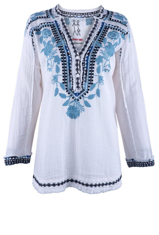 JOHNNY WAS VEDERA FLORAL EMBROIDERED GAUZE BLOUSE