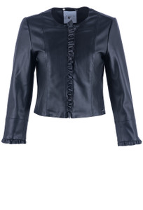 Rino & Pelle Faux Leather Ruffle Jacket - Front