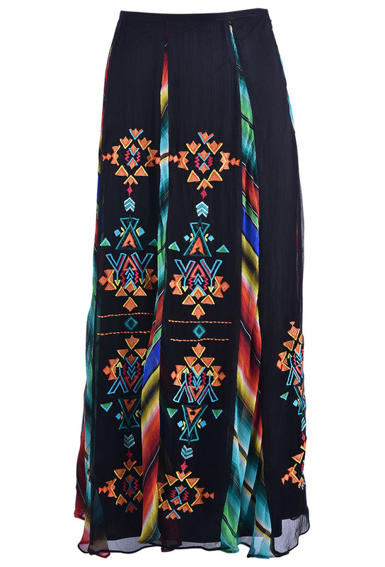 VINTAGE COLLECTION HARMONY SOUTHWESTERN EMBROIDERED CHIFFON SKIRT