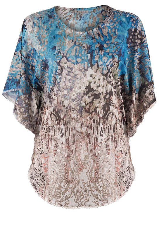 Adore Burnout Poncho Top - Front