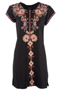 Driftwood Carmen Embroidered Tunic Dress - Front