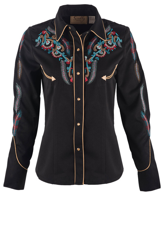 SCULLY FEATHER & FLORAL EMBROIDERED WESTERN SHIRT
