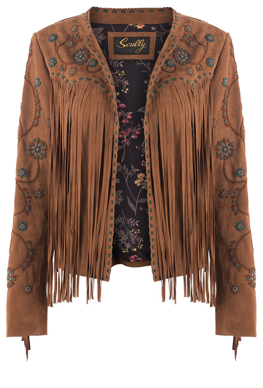 SCULLY WOMEN'S FRINGE BEADED SUEDE JACKET