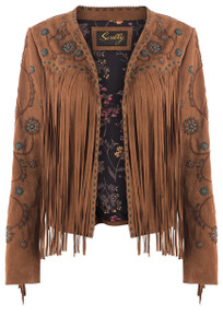 Scully Fringe Beaded Suede Jacket - Front