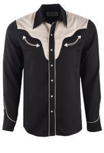 H Bar C Ranchwear Men's Black San Juan Western Shirt - Front