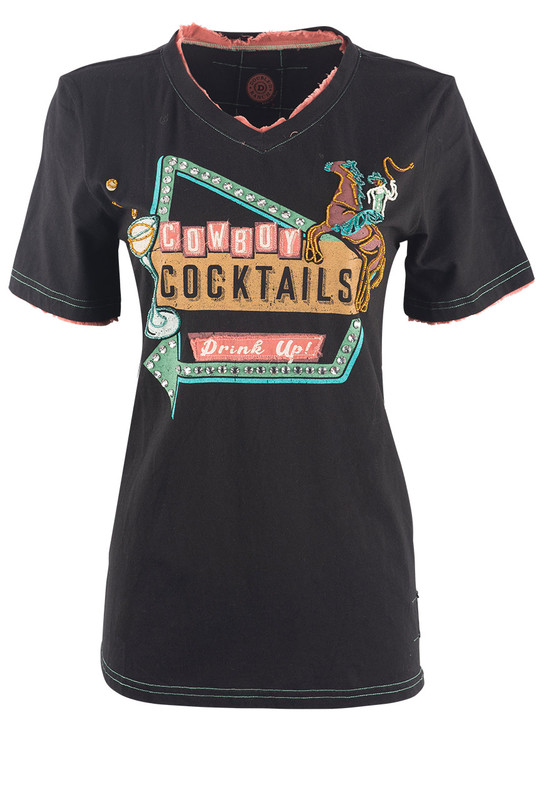 DOUBLE D RANCHWEAR COWBOY COCKTAIL TEE SHIRT