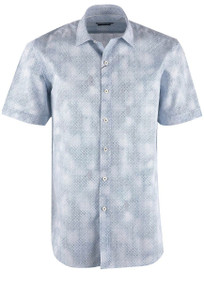 Bugatchi Air Blue Diamond Fade Shirt - Front