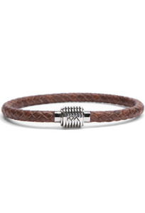 Kenton Michael Brown Sterling Coil Braided Leather Bracelet