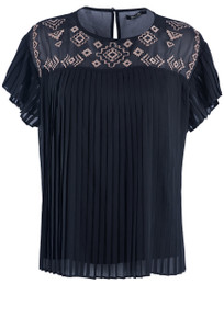 Miss Me Embroidered Pleated Top - Black - Front
