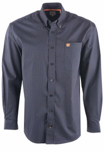 Cinch Men's Blue Diamond Print Shirt - Front