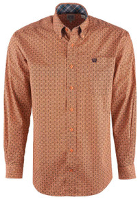 Cinch Men's Nectarine Honeycomb Foulard Shirt - Front