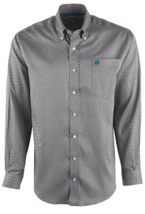 Cinch Men's Pearl Grey Tencel Shirt - Front