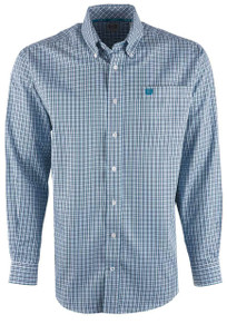 Cinch Men's Blue Check Shirt - Front