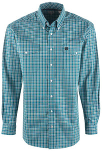 Cinch Men's Teal Check Plaid Shirt - Front