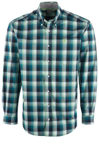 Cinch Men's Teal Multi Plaid Shirt - Front