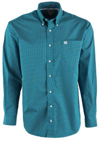 Cinch Men's Teal Mini Foulard Print Shirt - Front