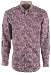 Cinch Men's Purple Paisley Print Shirt - Front