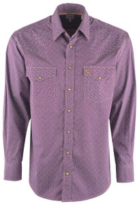 Cinch Men's Purple Abstract Print Snap Shirt - Front