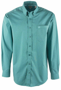 Cinch Men's Green Foulard Stack Print Shirt - Front