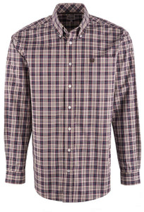 Cinch Men's Khaki & Purple Multi Plaid Shirt - Front