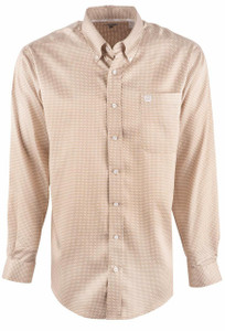 Cinch Men's Abstract Print Khaki Tencel Shirt - Front