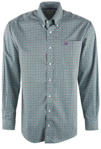 Cinch Men's Green Foulard Print Shirt - Front
