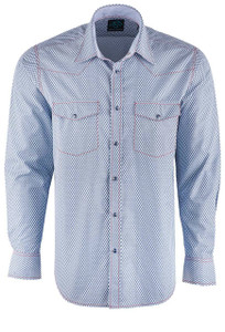 Pinto Ranch Collection Blue Mini Print Shirt - Front