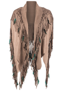Pat Dahnke Faux Fringe Shawl with Feathers - Cognac Front