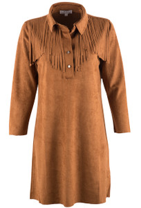 W.A.Y. Women's Collared Fringe Tunic - Cognac - Front
