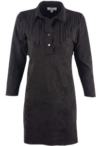 W.A.Y. Women's Collared Fringe Tunic - Black - Front
