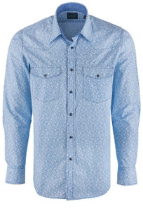 Pinto Ranch Collection Blue Paisley Print Shirt - Front