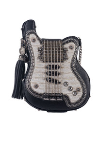 Mary Frances Greatest Hits Beaded Guitar Crossbody Handbag - Front