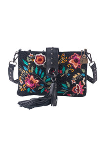 Mary Frances Wild Blossom Embroidered Leather Wristlet Crossbody - Front