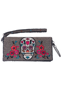 Mary Frances Head Case Sugar Skull Beaded Crossbody Wallet - Front
