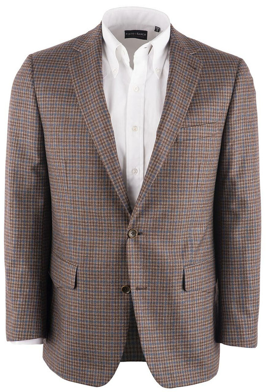 Pinto Ranch Brown & Blue Check Western Sport Coat - Front