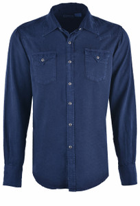 Stetson Navy Tencel Twill Snap Shirt - Front