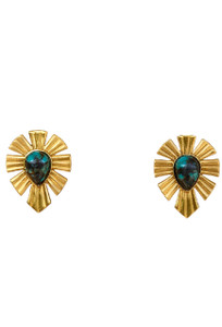 Christina Greene Gold and Bold Turquoise Stud Earrings - Front