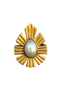 Christina Greene Behold Bold Statement Pearl Ring - Front