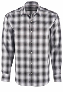 Bugatchi Men's Black Ombre Plaid Shirt - Front