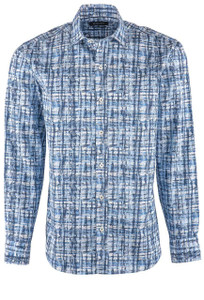 Bugatchi Men's Classic Blue Abstract Shirt - Front