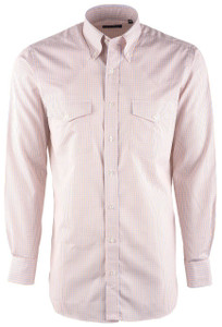 Pinto Ranch YY Collection Tangerine Check Poplin Shirt  - Front