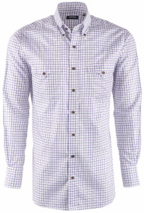 Lyle Lovett Men's Navy & White Check Pinpoint Shirt - Front